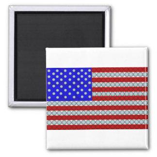 Golf Balls American Flag Square Magnet