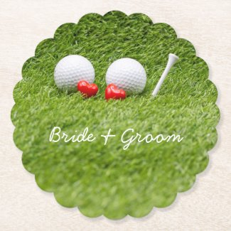 Golf balls and tee on green grass two hearts love paper coaster