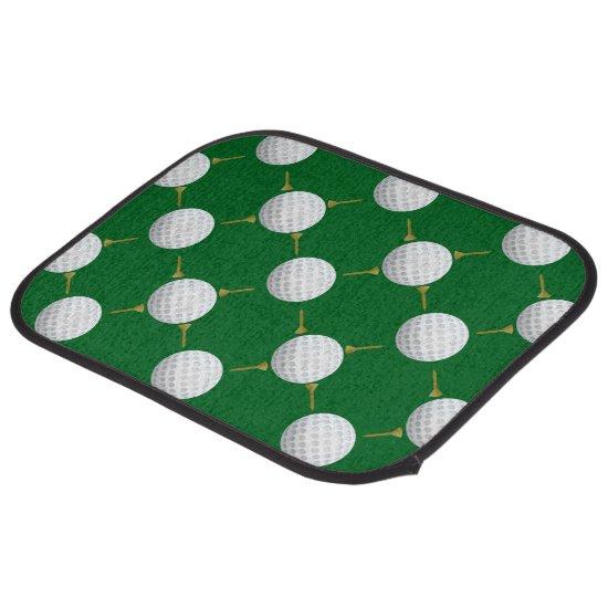 Golf balls and Tees on Green Car Floor Mat