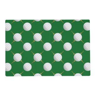 Golf balls and Tees on Green Placemat