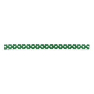Golf balls and Tees on Green Satin Ribbon