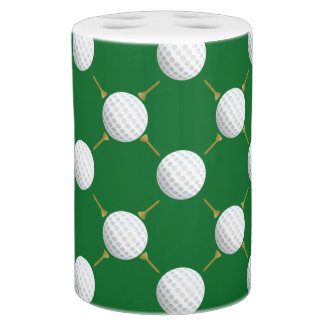 Golf balls and Tees on Green Soap Dispenser & Toothbrush Holder