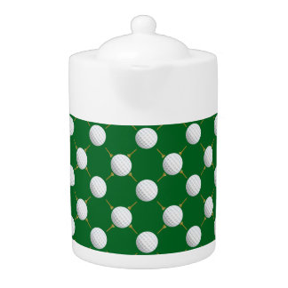 Golf balls and Tees on Green Teapot