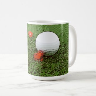 Golf balls are on green grass with love on green coffee mug