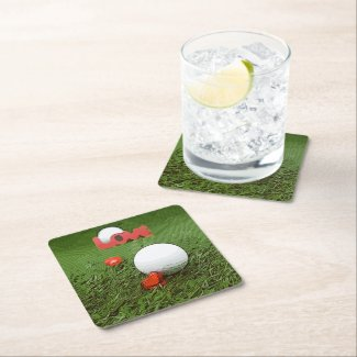 Golf balls are on green grass with love wedding square paper coaster