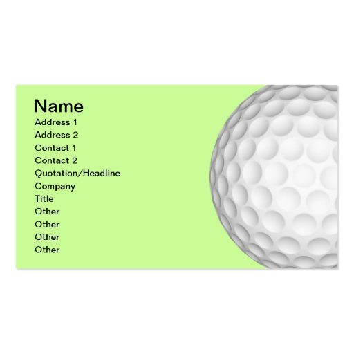 Golf Balls Collage Business Card Templates