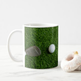 Golf balls on green grass coffee mug