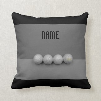 Golf balls on grey background duo tone throw pillow