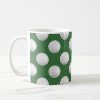 Golf balls on mugs with green background