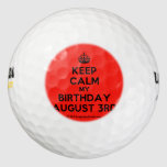[Crown] keep calm my birthday august 3rd  Golf Balls Pack Of Golf Balls
