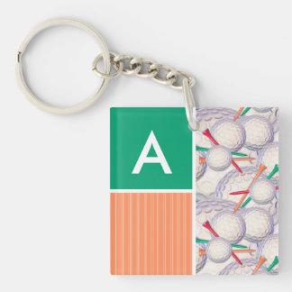 Golf Balls & Tees Pattern Acrylic Keychains