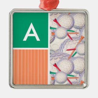 Golf Balls & Tees Pattern Christmas Ornament
