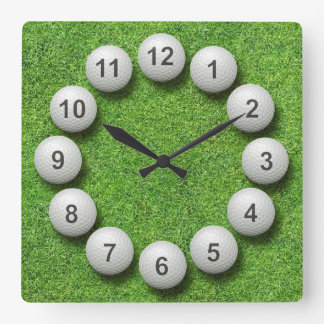 Golf Balls Timepiece Square Wall Clock