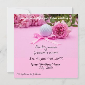 Golf balls with pink roses on pink with love