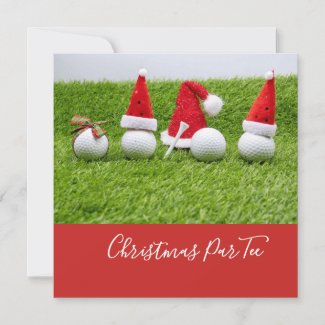 Golf balls with Santa hats Christmas