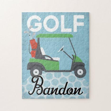 Golf Bandon Oregon - Retro Vintage Travel Jigsaw Puzzle