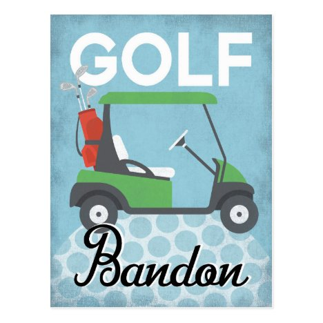 Golf Bandon Oregon - Retro Vintage Travel Postcard