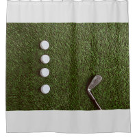 Golf bathroom with golf ball with putter shower curtain