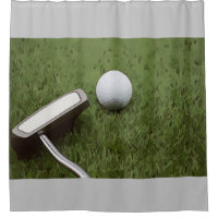 Golf bathroom with putter on green grass shower curtain