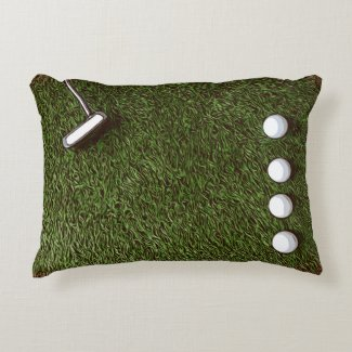 Golf bedroom with golf ball  with putter on  grass accent pillow