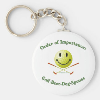 Golf Beer Dog Spouse Smiley Keychain