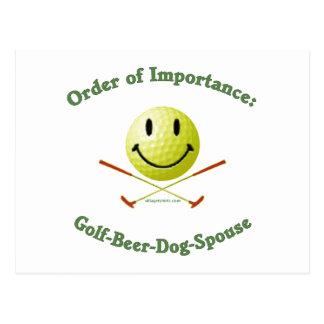 Golf Beer Dog Spouse Smiley Postcard