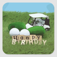 Golf birthday and golf ball and golf cart on green square sticker