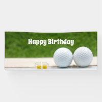 Golf birthday banner with golf balls and beer