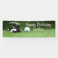 Golf Birthday Banner with golf cart on green grass