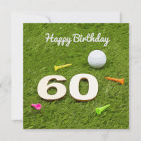 Golf Birthday Card 60th Birthday golf ball and tee
