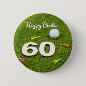 Golf Birthday Card 60th Birthday golf ball and tee Button