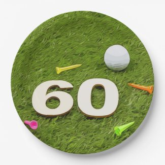 Golf Birthday Card 60th Birthday golf ball and tee Paper Plate