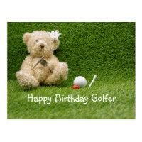 Golf Birthday card with baby bear golfer