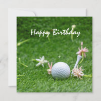 Golf birthday card with flowers and golf ball