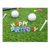 Golf birthday card with golf ball and colorful tee