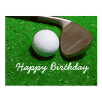 Golf birthday card with golf ball and sand wedge