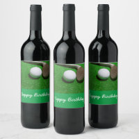 Golf birthday card with golf ball and sand wedge wine label