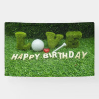 Golf Birthday Card with golf ball and tee love Banner