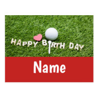Golf birthday card with golf ball and tee on green