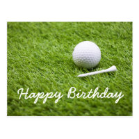 Golf birthday card with golf ball and white tee
