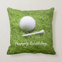 Golf birthday card with golf ball and white tee throw pillow