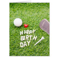 Golf Birthday Card with golf ball & tee with love