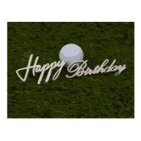 Golf birthday card with hand writing on green