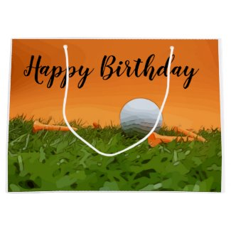 Golf birthday gift bag with golf ball and tee