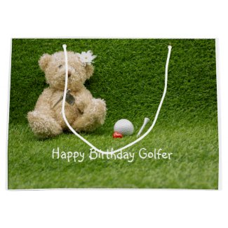 Golf Birthday Gifts bag with baby bear golfer