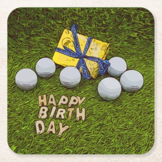 Golf Birthday Golf  Paper Coaster