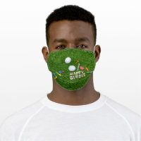 Golf birthday Happy Birdie with love for golfer Cloth Face Mask