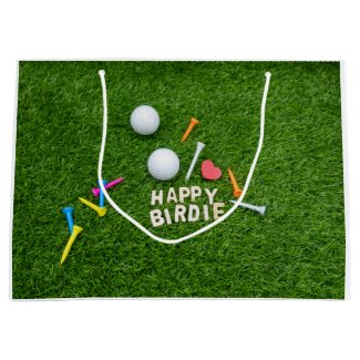 Golf birthday Happy Birdie with love for golfer Large Gift Bag