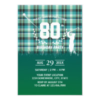 Golf Birthday Party Green Gingham Pattern Invitation