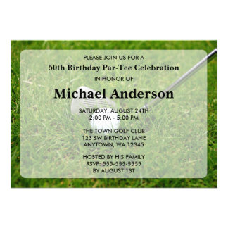 Golf Birthday Party Personalized Announcement